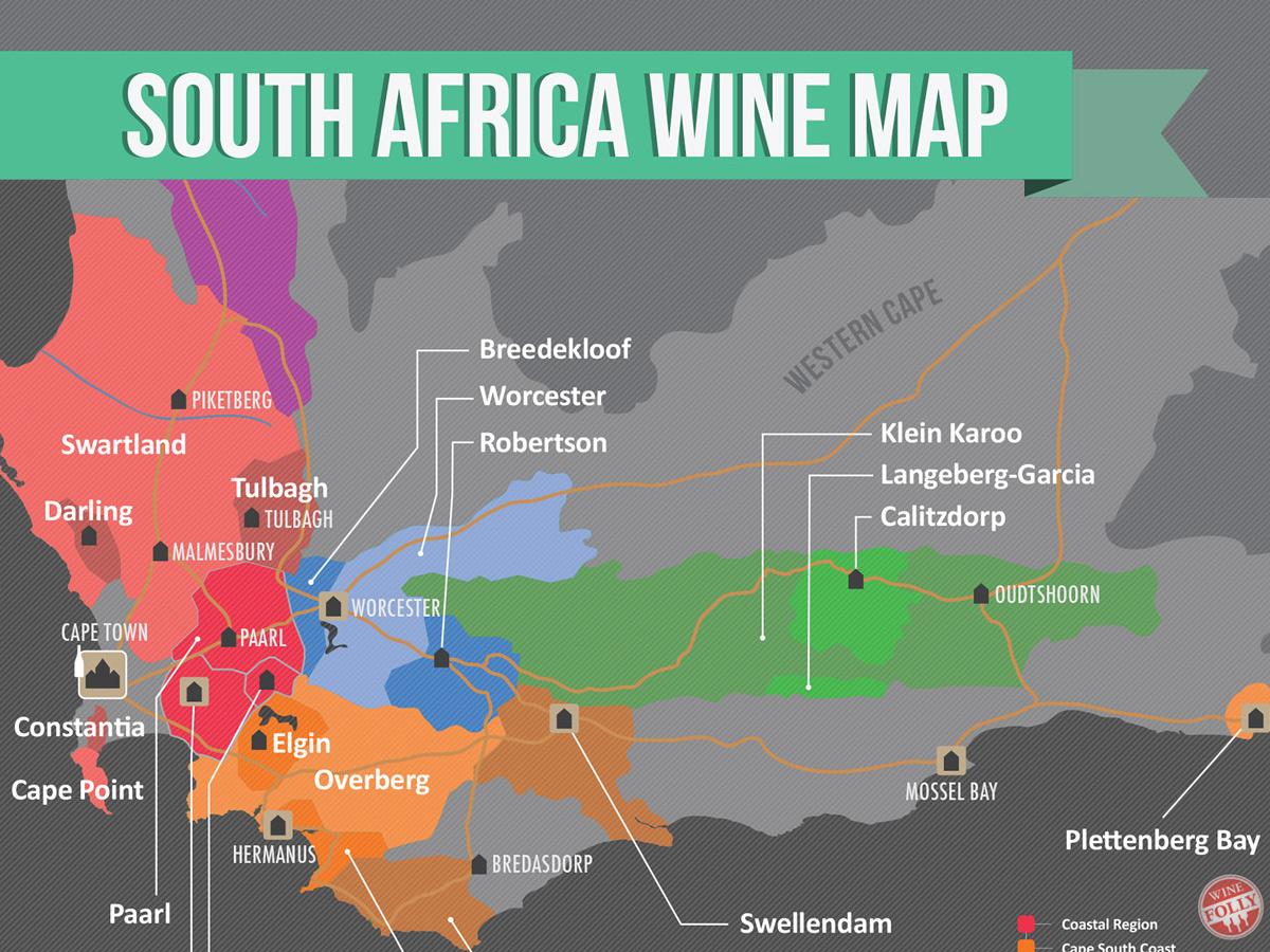 Karta över Sydafrikas vindistrikt
